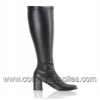 GOGO-300 Wide Calf Black Faux Leather